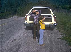 1976 Mercury Montego MX Villager with yours truly and his younger bro. Somewhere in Northern California, ca. 1979
