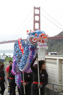 Lion dance at Bay Area Discovery Museum Chinese New Year Marin