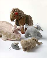 Knit farm animals from the de Young Museum Store