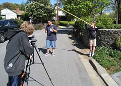 Kids filming on location