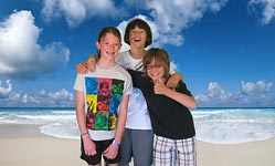 Kids with composited beach background