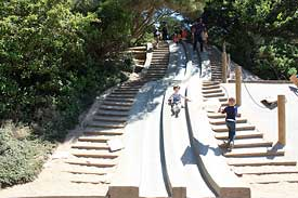 Concrete slides at the Golden Gate Park children's playground