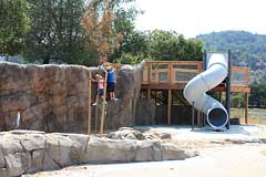 Slide and climbing wall at Hal Brown Park