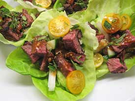 hanger steak lettuce cups