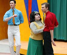 Tracy (Kimberly Swanson) and Link (Tyler Costin) on the Corny Collins Show in Hairspray