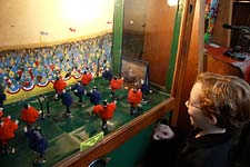 Playing soccer at Musee Mecanique