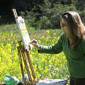 Colleen Proppe at work at the easel