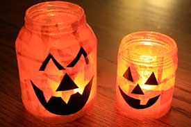 Pumpkin votive recycled craft project