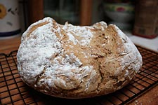 Irish soda bread, cooling on a rack