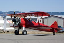 Stearman biplane taxiing at Sonoma Valley Airport