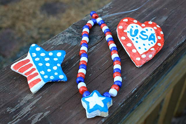 Baker's clay patriotic jewelry for the 4th of July