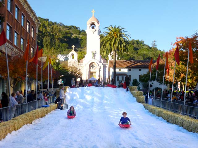 Snow sledding in San Rafael