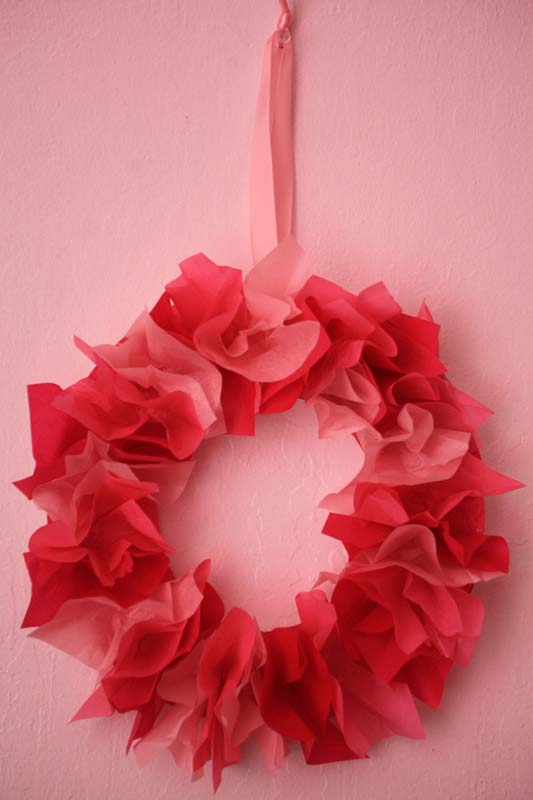 Valentine's Day Tissue Paper Wreath