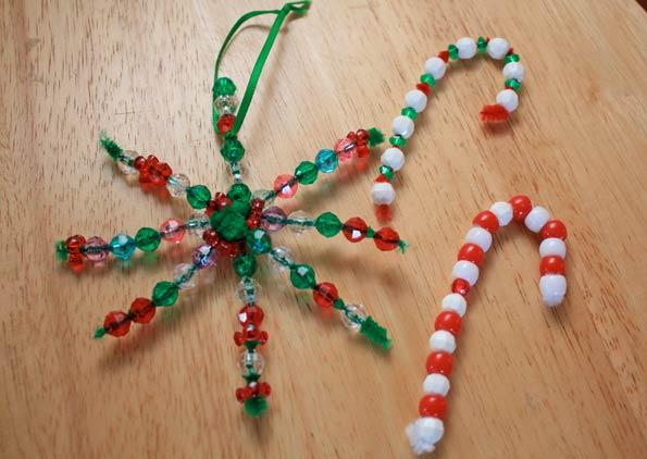 easy handmade holiday bead ornaments