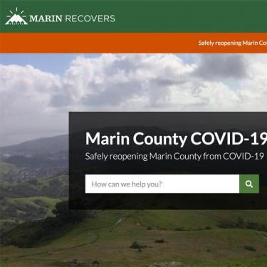 Marin Recovers home page screen capture