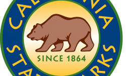 California State Parks logo.  Colored blue and gold.