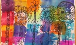 Image of preschool students flower illustration with tissue paper painting