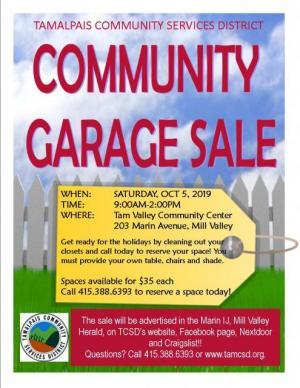 Tam Valley Community Garage Sale 2019