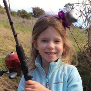 young girl fishing