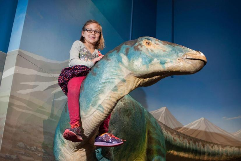Girl riding a dinosaur at the Bay Area Discovery Museums