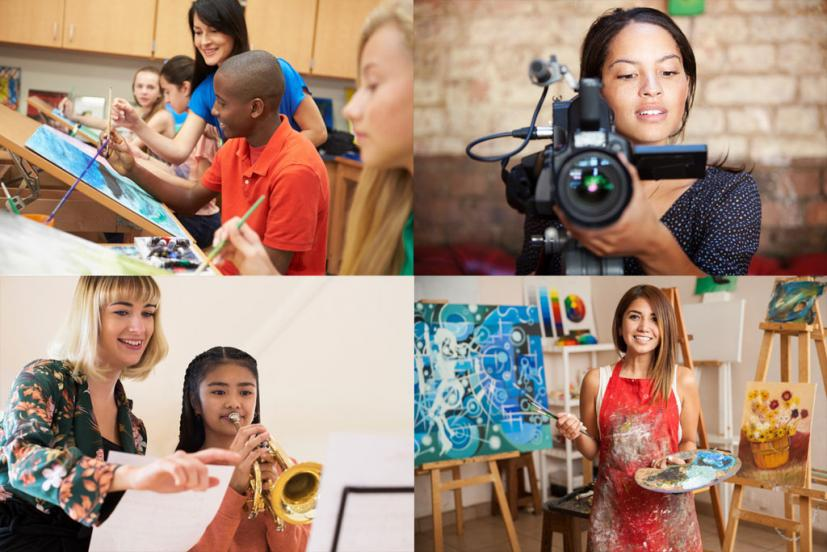 collage of youth creating art and music