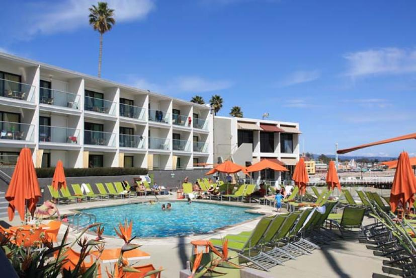 The Dream Inn Is A Retro Chic Hotel Located Right On Cowell S Beach Stone Throw From Fun At Santa Cruz Boardwalk