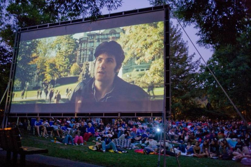 Outdoor movie screening in a park in Marin