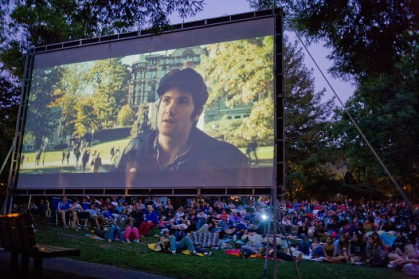 Outdoor movie screening in a park in Marin