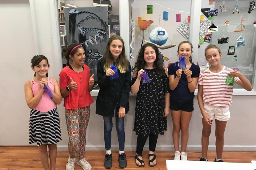 Kids at a birthday party at I Made It! Glass Creations in San Rafael