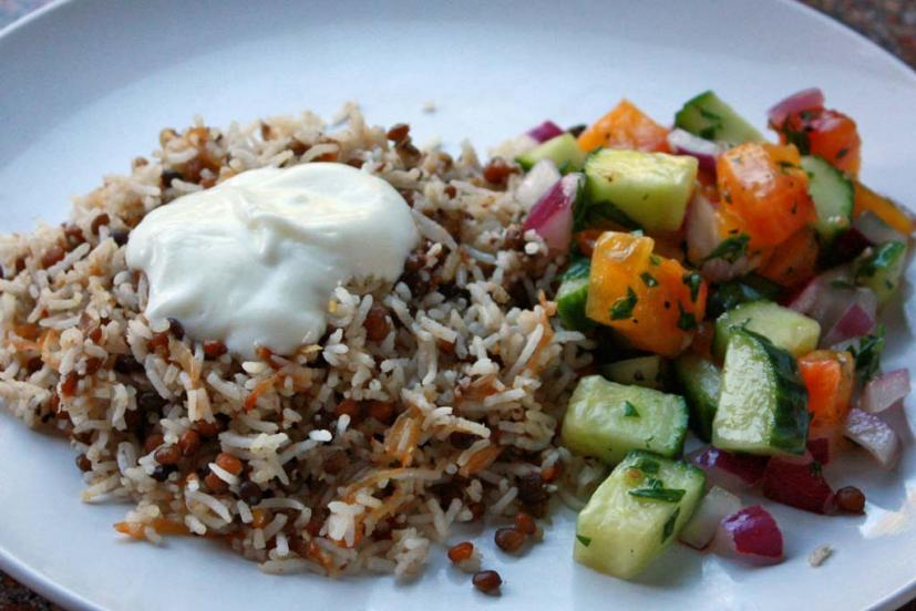 Mujaddara rice and lentils
