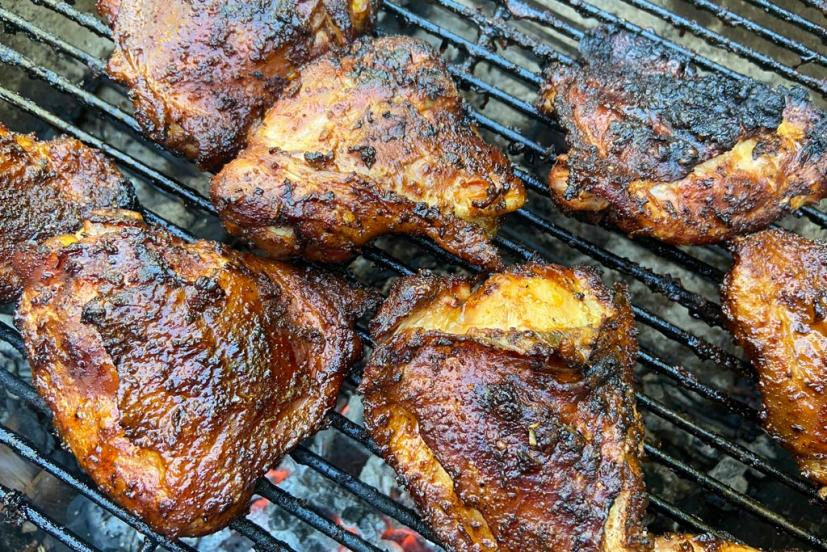 Pulled chicken on grill