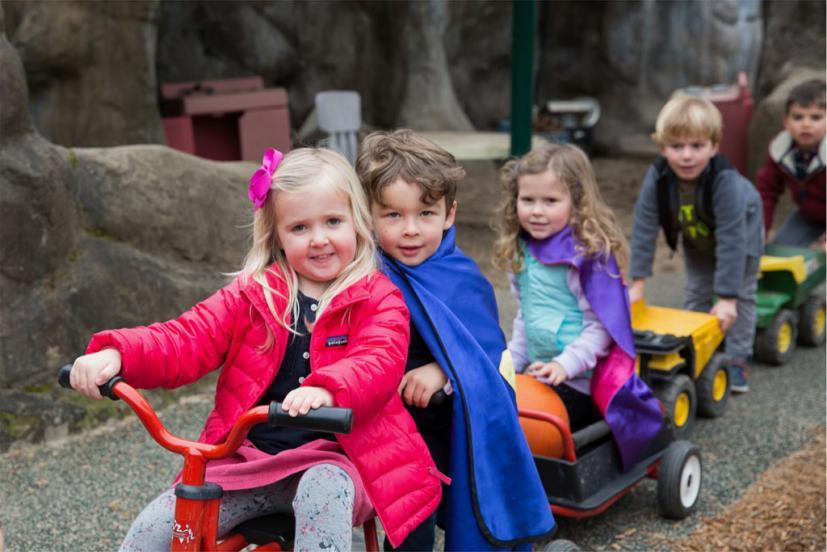 Preschoolers playing at Ross Valley Nursery School