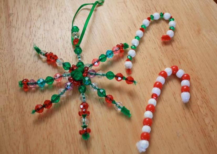 your kids can exercise their holiday creativity by making these easy and festive bead ornaments for the christmas tree they also look great attached to - Handmade Christmas Ornaments