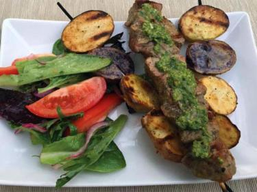Pernilla's Pantry Steak and Potato Kebabs with Chimichurri and Tomato Salad